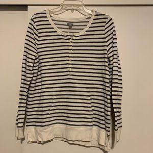 Aerie Striped Henley w/ Pocket Sz LG